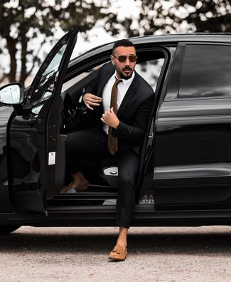 How to wear: black suit, white dress shirt, tan suede tassel loafers, brown tie