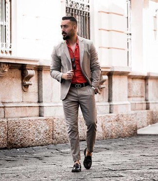 How to wear: brown suit, red dress shirt, black leather tassel loafers, black leather belt