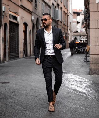 How to wear: black suit, white dress shirt, brown suede tassel loafers, black leather belt