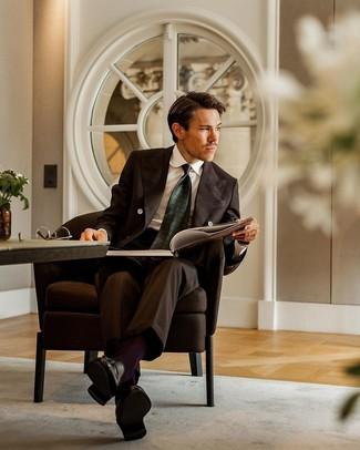 How to wear: dark brown suit, white dress shirt, black leather tassel loafers, dark green print tie