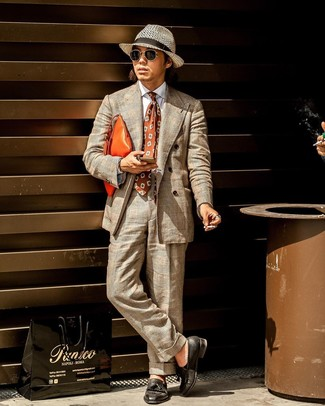 How to wear: beige plaid suit, white dress shirt, black leather tassel loafers, orange leather zip pouch