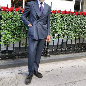 How to wear: navy suit, white dress shirt, black suede tassel loafers, violet horizontal striped tie