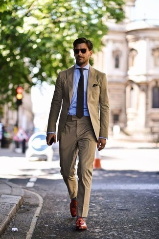 How to Wear a Dark Brown Pocket Square: Try teaming a tan suit with a dark brown pocket square to feel 100% confident and look trendy. Why not take a classic approach with shoes and complete your look with tobacco leather tassel loafers?