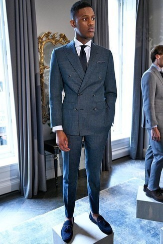 How to Wear Navy Suede Tassel Loafers: A navy suit and a white vertical striped dress shirt are an elegant ensemble that every sharp man should have in his sartorial collection. If not sure as to the footwear, introduce navy suede tassel loafers to the equation.