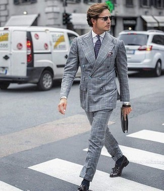 How to Wear Charcoal Sunglasses For Men: Marry a grey check suit with charcoal sunglasses for a cool and casual and fashionable look. If you need to immediately up the style ante of your outfit with a pair of shoes, why not complete this ensemble with dark purple leather tassel loafers?
