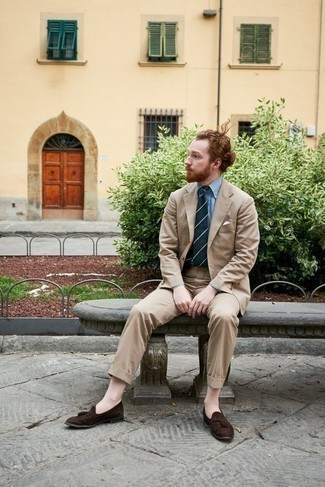 Dark Brown Suede Tassel Loafers Outfits: A tan suit and a light blue dress shirt? Be sure, this outfit will make women go weak in the knees. Bring a playful touch to by wearing dark brown suede tassel loafers.