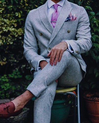 Purple Tie Outfits For Men: Wear a grey suit with a purple tie to have all eyes on you. To give your overall look a more laid-back feel, why not complete this getup with brown leather tassel loafers?