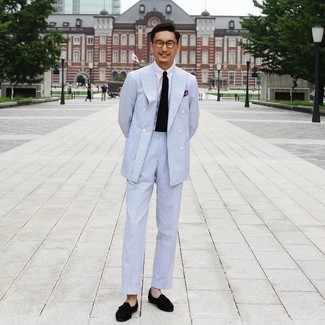 White Dress Shirt Outfits For Men: Demonstrate your classy side by opting for a white dress shirt and a light blue vertical striped seersucker suit. Black suede tassel loafers serve as the glue that brings your outfit together.
