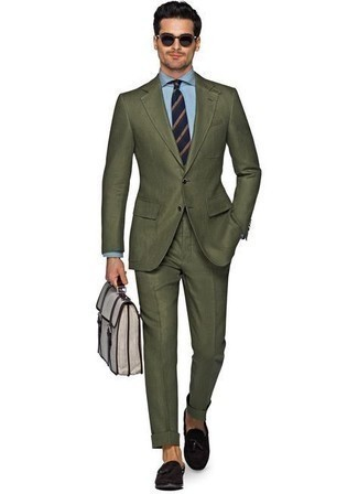 Navy Horizontal Striped Tie Outfits For Men: Marrying an olive suit and a navy horizontal striped tie is a surefire way to infuse your styling collection with some manly sophistication. You could perhaps get a bit experimental with footwear and complete your look with dark brown suede tassel loafers.