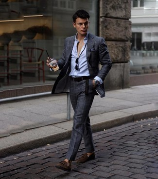 Men's Outfits 2021: This pairing of a charcoal check suit and a light blue vertical striped dress shirt is a lifesaver when you need to look like an expert in modern men's fashion. A pair of dark brown suede tassel loafers will tie your whole getup together.