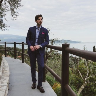 Dark Brown Leather Tassel Loafers Outfits: This refined combo of a navy plaid suit and a white and navy vertical striped dress shirt is a common choice among the sartorial-savvy guys. Complement this look with a pair of dark brown leather tassel loafers et voila, this outfit is complete.