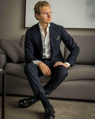 Clear Sunglasses Outfits For Men: For a casual look, reach for a navy suit and clear sunglasses — these two items play beautifully together. Puzzled as to how to complement your getup? Rock black leather tassel loafers to kick it up a notch.