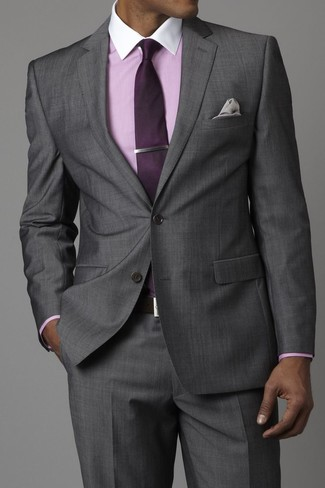 Men's Grey Suit, Pink Dress Shirt, Dark Purple Tie, Grey Pocket