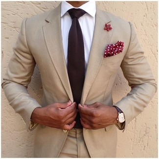 How to wear: beige suit, white dress shirt, burgundy knit tie, red and white polka dot pocket square