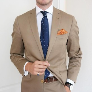 How to Wear an Orange Polka Dot Pocket Square: Dress in a tan suit and an orange polka dot pocket square to feel completely confident in yourself and look trendy.