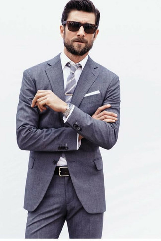 How to wear: grey suit, white dress shirt, grey vertical striped tie, white pocket square