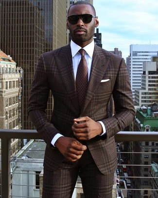 How to wear: dark brown plaid suit, white dress shirt, dark brown polka dot tie, white pocket square