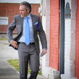 How to wear: grey plaid suit, light blue dress shirt, aquamarine tie, light blue pocket square