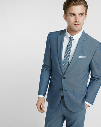 How to wear: teal suit, white dress shirt, teal print tie, white pocket square