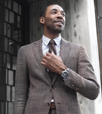 Drakes White Windowpane Checked Cotton Poplin Shirt