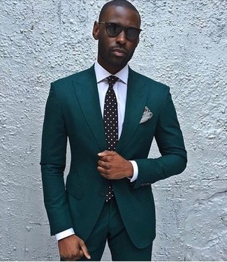 How to wear: teal suit, white dress shirt, black and white polka dot tie, black and white horizontal striped pocket square