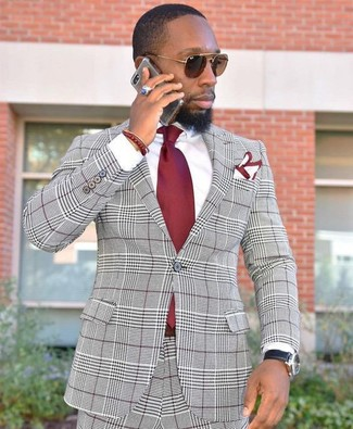 How to wear: grey plaid suit, white dress shirt, red tie, white and red pocket square