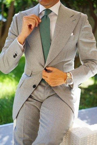 How to wear: grey suit, white dress shirt, dark green polka dot tie, white pocket square