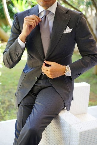 How to wear: charcoal suit, white dress shirt, grey silk tie, white pocket square
