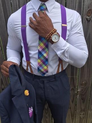 How to wear: charcoal suit, white dress shirt, multi colored plaid tie, purple pocket square