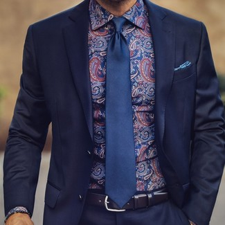 How to wear: navy suit, navy paisley dress shirt, navy silk tie, blue print pocket square