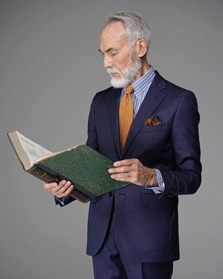How to wear: navy suit, white and blue vertical striped dress shirt, orange polka dot tie, orange print pocket square