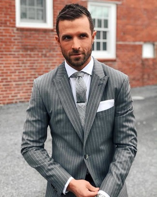 How to wear: grey vertical striped suit, white dress shirt, grey tie, white pocket square