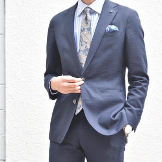 How to wear: navy suit, light blue vertical striped dress shirt, navy paisley tie, light violet print pocket square