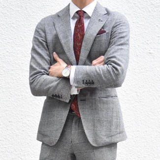 How to wear: grey plaid suit, white dress shirt, burgundy paisley tie, burgundy pocket square