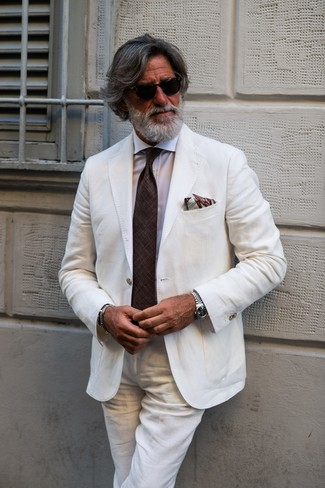 How to wear: white linen suit, white dress shirt, dark brown tie, brown print pocket square
