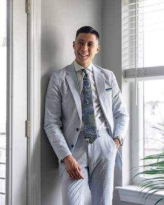 How to wear: light blue vertical striped seersucker suit, white dress shirt, navy and green paisley tie, white pocket square