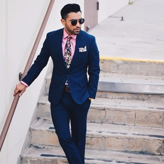 How to Wear a Navy Floral Tie For Men: A navy suit and a navy floral tie are among the basic elements of any well-edited menswear collection.