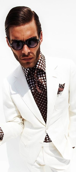 How to wear: white suit, dark brown polka dot dress shirt, dark brown polka dot tie, dark brown polka dot pocket square