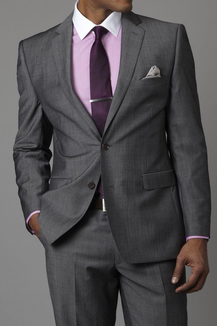 Men's Grey Suit, Pink Dress Shirt, Dark Purple Tie, Grey Pocket ...