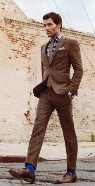How to wear: brown check wool suit, navy and white plaid long sleeve shirt, brown leather brogues, brown wool tie