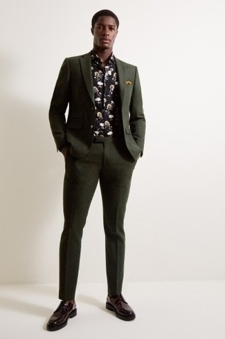 How to Wear a Black Floral Long Sleeve Shirt For Men: Pair a black floral long sleeve shirt with a dark green suit for refined style with a modernized spin. For something more on the classy side to round off this ensemble, add a pair of burgundy leather derby shoes to the equation.