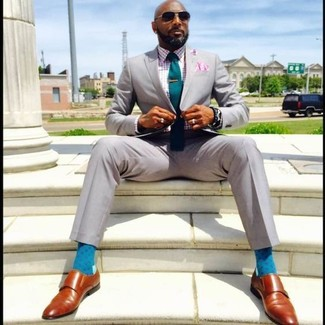 How to wear: grey suit, multi colored gingham long sleeve shirt, tobacco leather double monks, teal tie