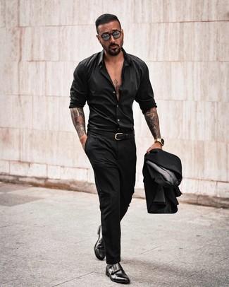 How to wear: black suit, black long sleeve shirt, black leather double monks, black leather belt