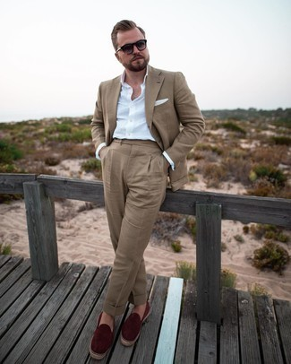 White Linen Long Sleeve Shirt Outfits For Men: Consider wearing a white linen long sleeve shirt and a tan suit for a really sharp ensemble. Burgundy canvas espadrilles will bring an easy-going touch to an otherwise mostly dressed-up outfit.