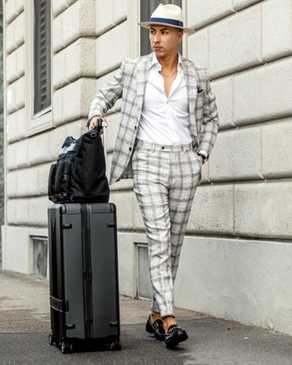 How to wear: grey plaid suit, white long sleeve shirt, black leather loafers, black canvas tote bag
