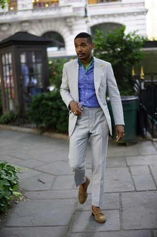 Grey Suit with Long Sleeve Shirt Outfits: Hard proof that a grey suit and a long sleeve shirt look awesome when you team them together in a sophisticated look for today's man. Let your sartorial credentials really shine by completing your look with a pair of tan suede loafers.