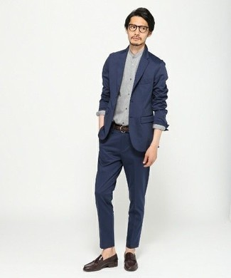 How to Wear a Grey Long Sleeve Shirt In a Dressy Way For Men: For an outfit that's polished and Bond-worthy, dress in a grey long sleeve shirt and a navy suit. Our favorite of a ton of ways to finish off this ensemble is with dark brown leather loafers.