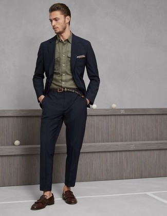 Olive Long Sleeve Shirt Outfits For Men: You're looking at the hard proof that an olive long sleeve shirt and a navy suit look amazing when you team them together in a sophisticated look for a modern gent. When not sure as to the footwear, go with a pair of brown fringe leather loafers.