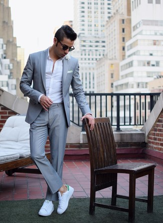 Men's Grey Suit, White Long Sleeve Shirt, White and Green Low Top Sneakers, White Pocket Square