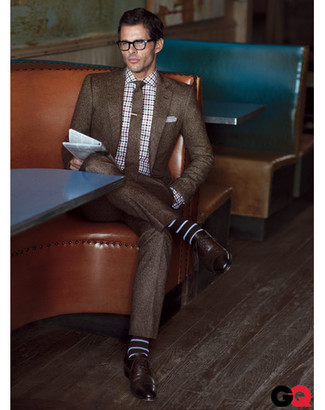 How to wear: brown wool suit, white and navy plaid long sleeve shirt, dark brown leather oxford shoes, brown wool tie